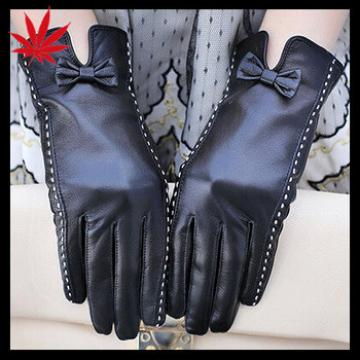Classical bowknot Women's black Leather Gloves