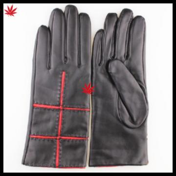 lady wearing fashion sexy genuine leather glove