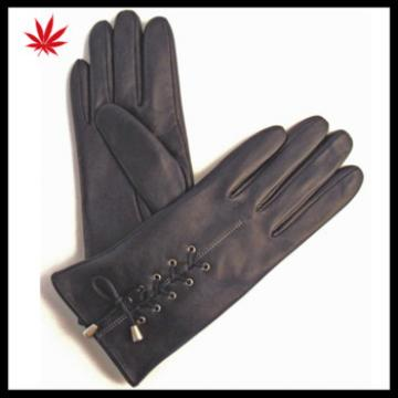ladies genuine winter black leather hand gloves