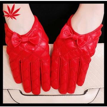 Fashion Red bowknot Short Women's Leather Gloves