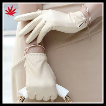 women wearing white short leather gloves manufacture