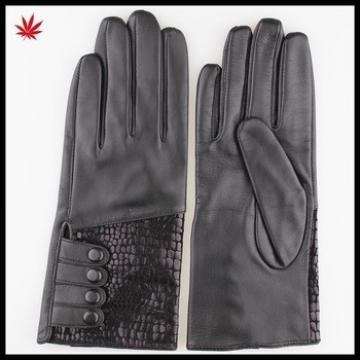 Hot Selling Women Leather Gloves With Leather Buttons