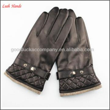 wool lined fashion sheepskin mens leather gloves