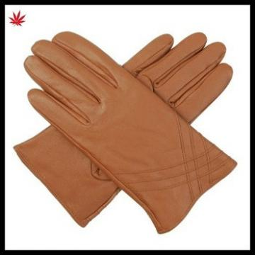Hot selling basic style camel genuine leather gloves