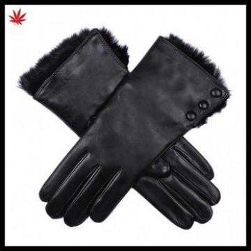 Ladies fashion high quality rabbit fur lined leather glove with buttons