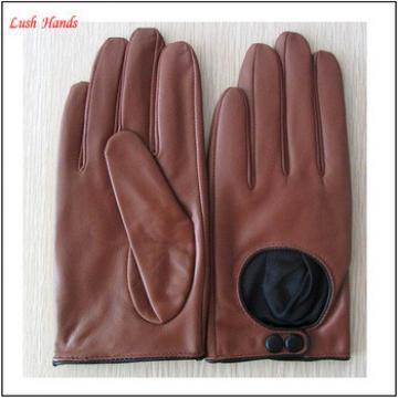 ladies fashion brown short driving leatehr glove