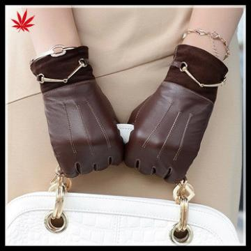 Fashion Brown Leather Gloves with golden chain for lady
