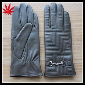 Women's fashion Embroidered leather gloves with high design