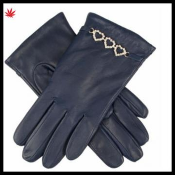 women sexy genuine leather glove with chain
