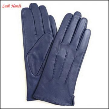 ladies new style high fashion wearing navy blue leather gloves