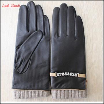 Women wearing fashion sexy knitted cuff leather glove
