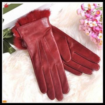 women fashion fake fur trim genuine red leather glove