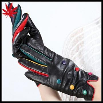 High fashion ladies leather gloves with colorful buttons