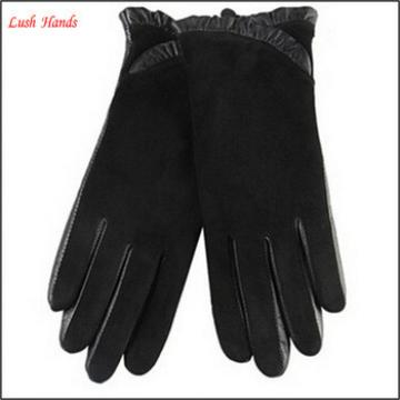 sexy ladies wearing suede back leather palm leather gloves