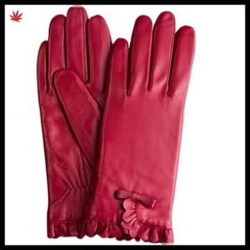 women sexy style wool lined genuine leather glove