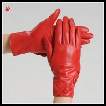 women leather glove sex leathe rglove with folded cuff from Chinese factory