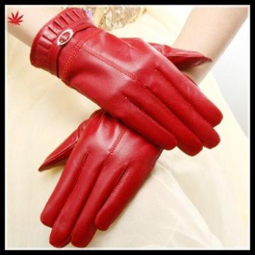 women fashion red leather wool lining gloves