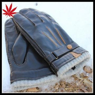Men's black winter leather gloves to protect your hands