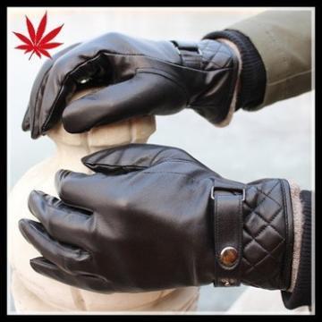 Men's new style black winter sheepskin leather gloves