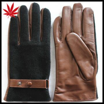 Brown leather gloves with cloth fabric on the back for men