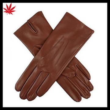 Basic pattern brown women leather gloves