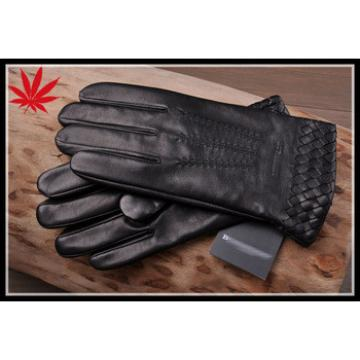 Cutomized leather gloves for men with weaving on the cuff