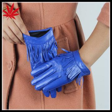 Fashion tight short style leather gloves with tassel for women