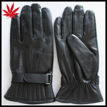 Fashion mens leather gloves with leather belt black
