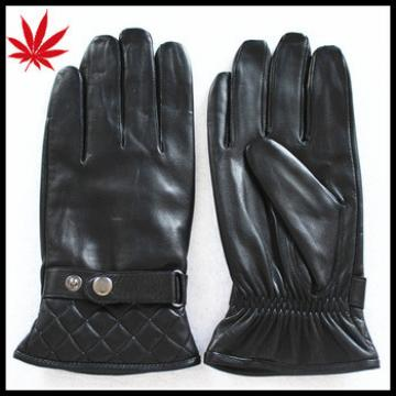 Mens leather dress gloves with button and leather belt can be print company lgo