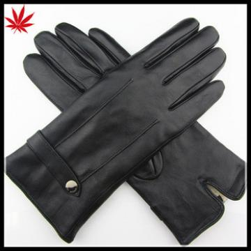 Lamb fur trim lined lady winter warm leather gloves for women
