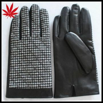 Men's cheap leather gloves with cloth fabric on the back