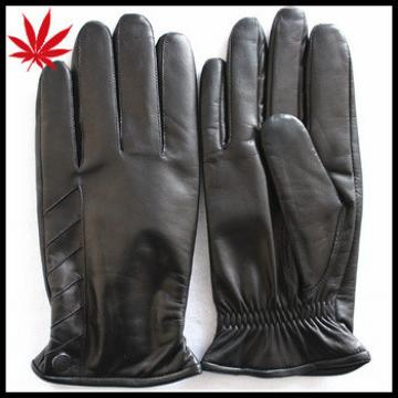 Winter gloves black sheep skin color tight leather gloves