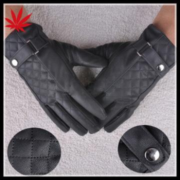 Warm winter mens thicken faux leather gloves mittens grids finger gloves