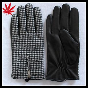 Men cheap leather gloves with zipper and cloth fabric