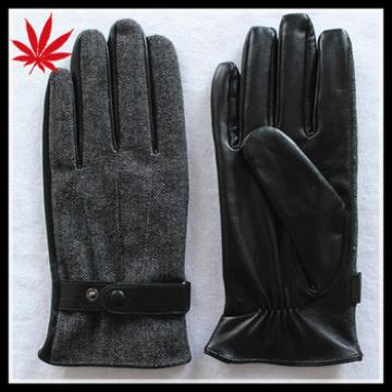 Fake leather mens gloves cheap price with cloth fabric