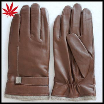 Men's high quality sheepskin brown leather gloves