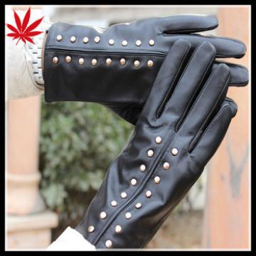 Ladies goat leather gloves importers with fashion studs