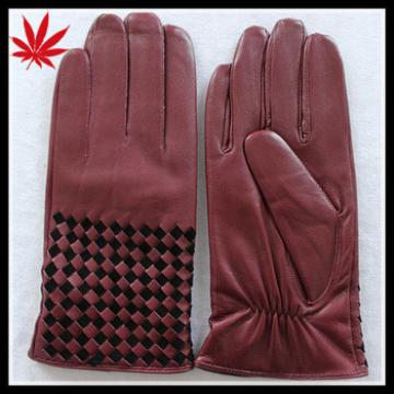 Men's designer red wearing leather gloves with black weaving at back