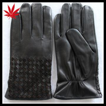 Black leather gloves for men with weaving at back