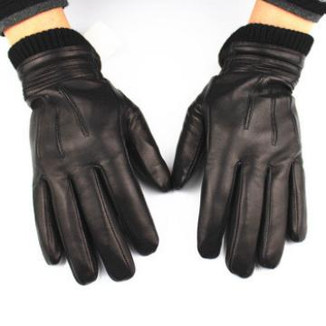 High quality Ethiopia leather winter mens leather gloves for men with knit cuff