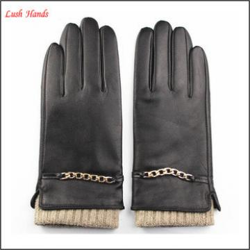 Lady knit wool cuff leather gloves with metal chain