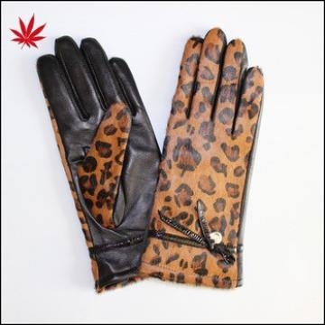 Fashion horse fur women leather gloves