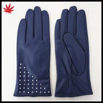 Navy fashion women leather gloves with fashion studs leather gloves