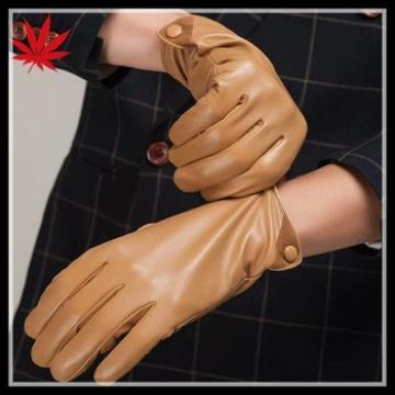 mens fashionable yellow dress leather gloves