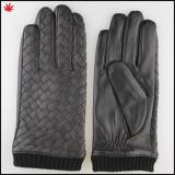2016 men sheepskin leather glove with Knit cuff and the back of hand woven leather