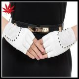 Ladies write fingerless leather gloves with studs