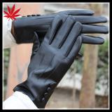 High fashion ladies black leather gloves with buttons