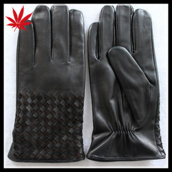 Black leather gloves for men with weaving at back #1 image
